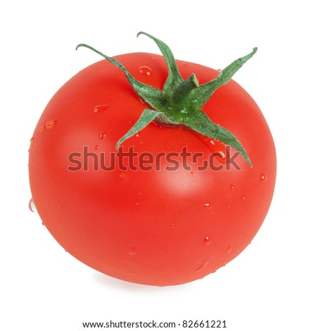red ripe tomato with drops isolated on white - stock photo