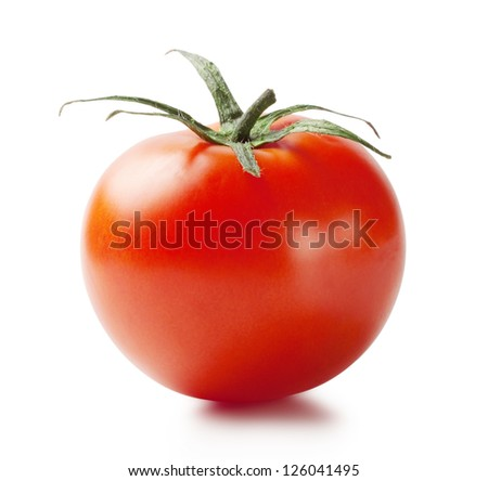 Red ripe tomato with handle isolated on white background - stock photo
