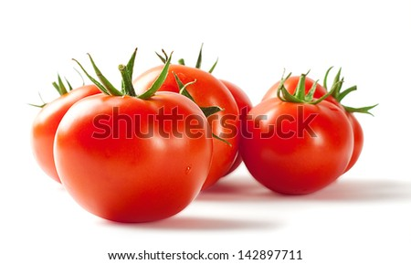 Red ripe tomatoes isolated on white background - stock photo
