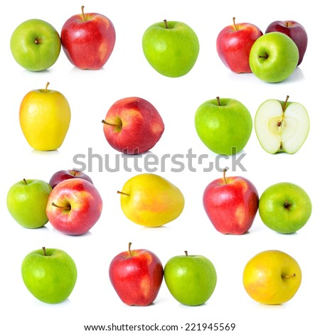 Red ripe,yellow apple and green apple isolated on white background