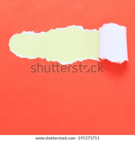 Red ripped paper with yellow background in separate layer  - stock photo