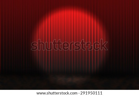 Red rising curtain - stock photo