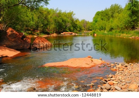 red river and rock formations at sedona arizona