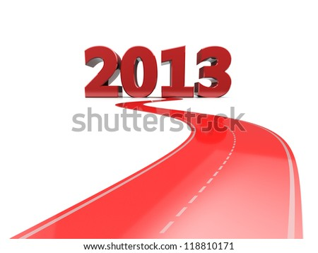 Red road with number 2013, new year concept - stock photo