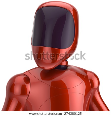 Red robot futuristic cyborg artificial bot android avatar portrait icon concept. 3d render isolated on white background - stock photo