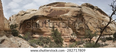 Red Rock Arch Formation Panorama - stock photo