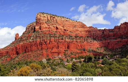 Red Rock Canyon Butte Little Horse Park Chapel of the Holy Cross Sedona Arizona - stock photo