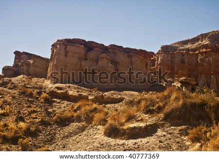 Red Rock Canyon cliffs from California's Mojave desert