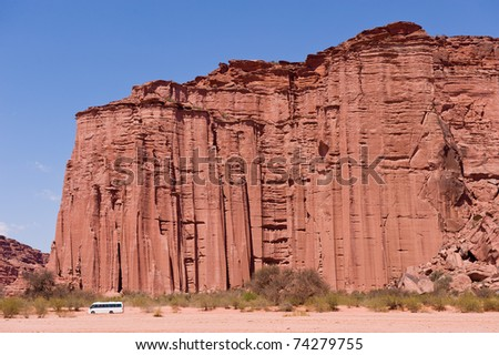 Red rock canyon in Talampaya National Park, declared UNESCO World Heritage SIte. - stock photo