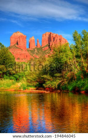 Red Rock country and Oak Creek surrounding Sedona Arizona - stock photo