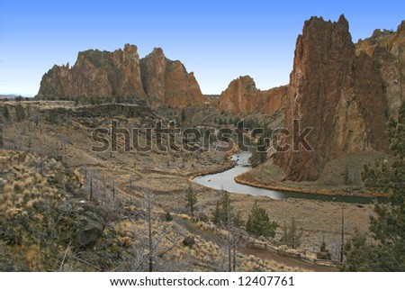 red rock country at smith rock, oregon - stock photo