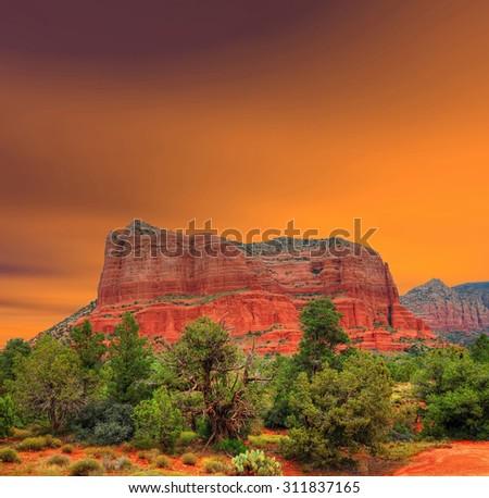 Red Rock country mountains surrounding Sedona Arizona - stock photo