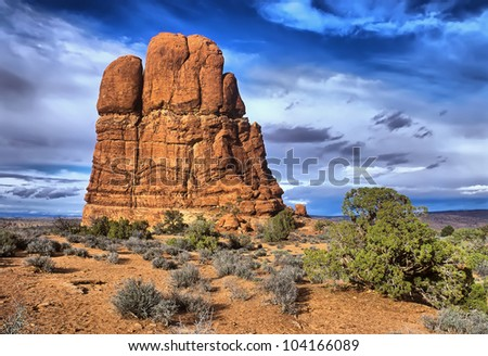 Red Rock formations, located in Arches National Park in Moab, Utah - stock photo