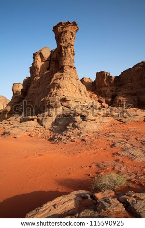 Red rock in the desert - stock photo