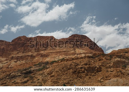 Red rock mountains and sky. Israel.