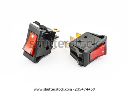 Red Rocker Switches with Light.