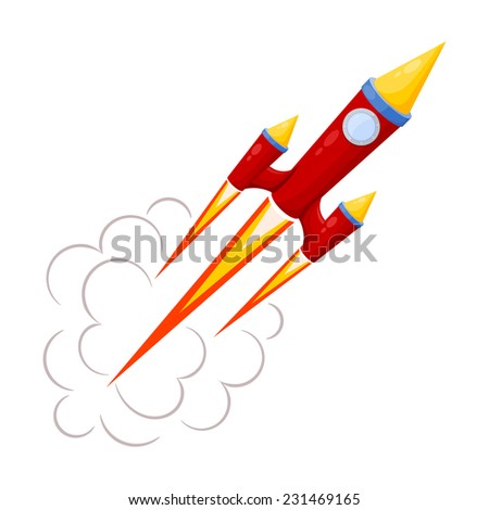 Red Rocket in motion isolated on white background. Raster copy.  - stock photo