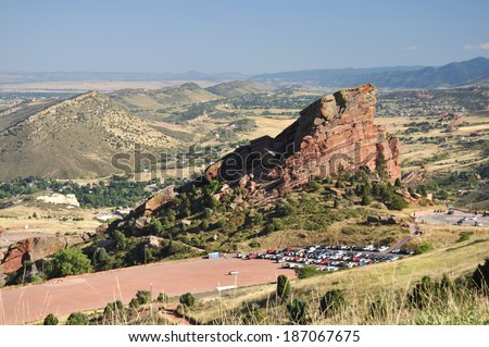 Red Rocks Amphitheater before an outdoor concert near Morrison, Colorado. This is a main attraction for residents and visitors to Denver.