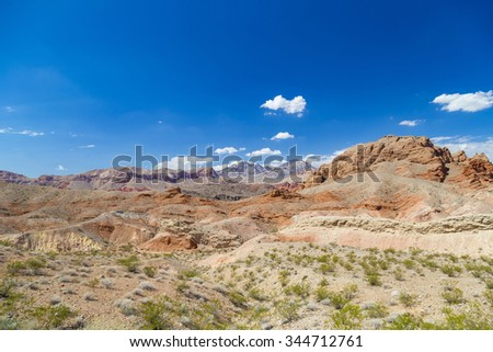 Red rocks and clear blue sky in Valley of Fire State Park, Nevada, USA - stock photo
