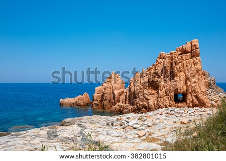 Red rocks and turquoise water of Arbatax, Sardinia, Italy - stock photo