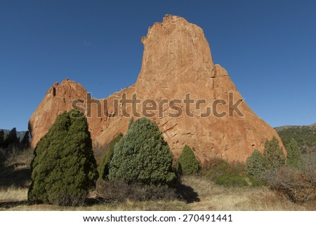 Red rocks at Garden of the Gods in Colorado Springs - stock photo