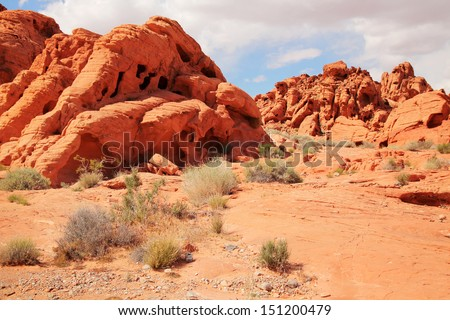 Red rocks in Valley of Fire, Nevada - stock photo