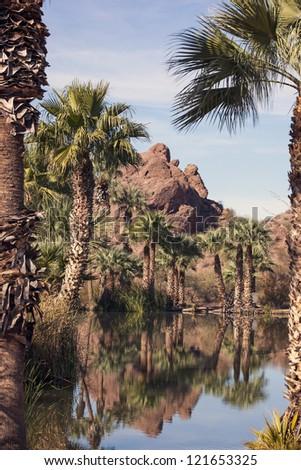 Red Rocks of sandstone with tropical lagoon in Papago Park, Phoenix, Arizona - stock photo