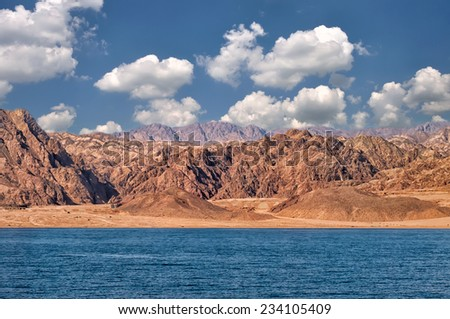 Red rocks on Eastern Sinai near Moses Mountain - stock photo