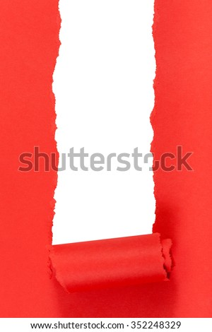 red rolled-up ripped paper on white isolated vertical background - stock photo