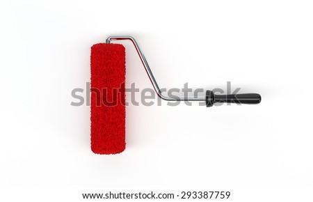 Red roller brush - stock photo