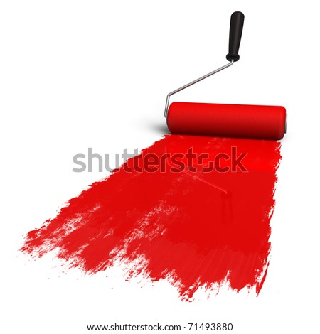 Red roller brush with trail of paint - stock photo