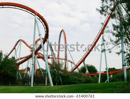 Red Roller Coaster.port aventura - stock photo