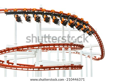 Red roller coaster with blur people