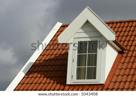 red roof-american style house - stock photo