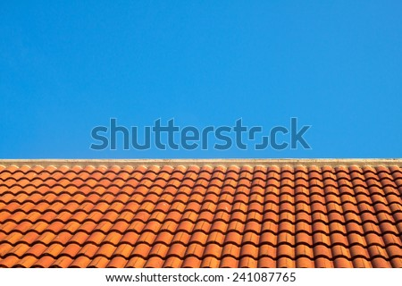 red roof and blue sky
