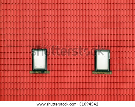 Red roof background with windows. - stock photo
