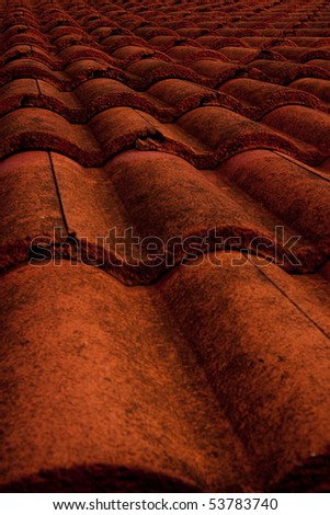 Red roof close up. - stock photo