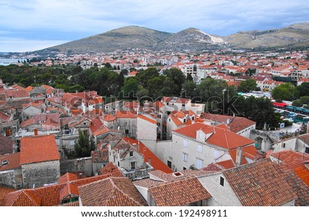 red roof houses in Trogir - stock photo