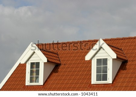 red roof on american style house - stock photo