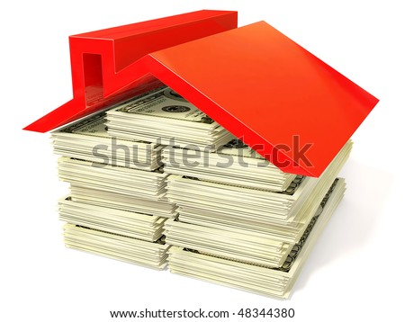 red roof on dollar isolated - stock photo