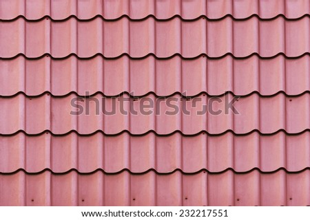 Red roof texture close up - stock photo