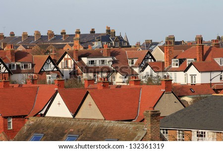 Red roof tops on modern housing estate, Scarborough, England. - stock photo