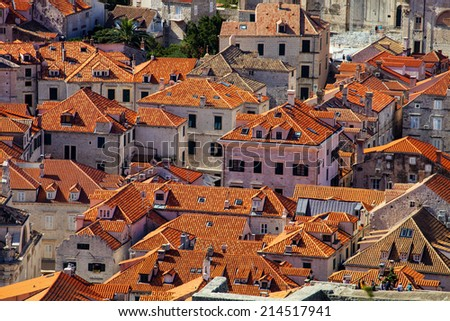 Red roofs of old Dubrovnik, Croatia - stock photo