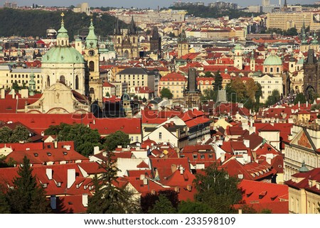 Red roofs of Prague centrum. Czech Republic. - stock photo
