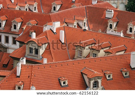 Red roofs of Prague (Czech Republic) - stock photo