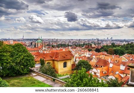Red roofs, Prague panorama, Czech Republic - stock photo