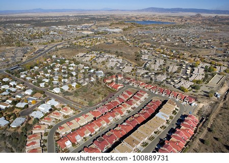 Red Rooftops in a suburb of Prescott, Arizona - stock photo