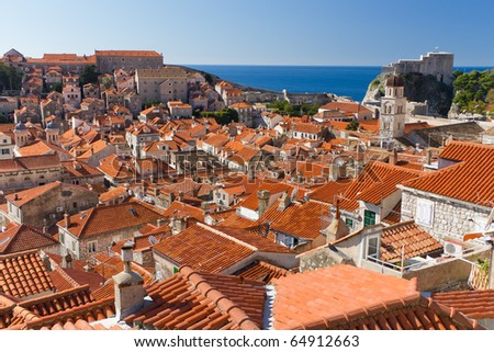 Red Rooftops in the Historic Old Town of Dubrovnik, Croatia on the Adriatic Coast - stock photo