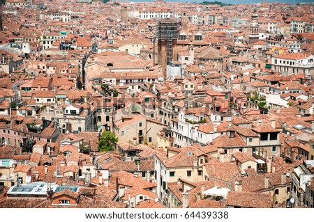 Red rooftops in Venice, view from San Marco tower - stock photo