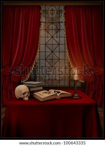 Red room with a candle and a book and a skull